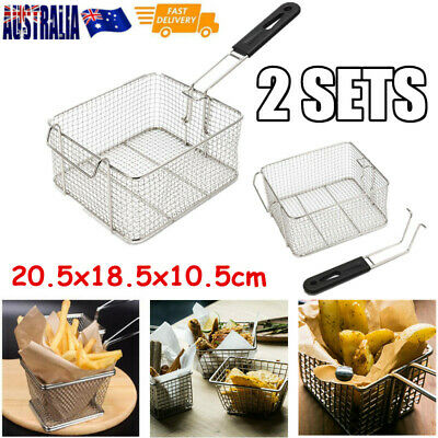 2x Stainless Steel Deep Fry Basket Oil Fried Chips Fish Fryer Kitchen Tool