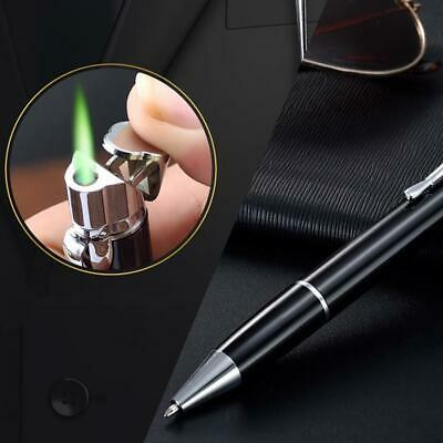 Portable Metal Adjustable Straight Flame Windproof Gas Ball Point Pen Lighter