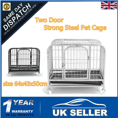 Heavt Duty Dog Cat Training Cage Crate Carrier Two Door Folding Extra Strong XXL