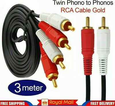 EXTRA LONG 3m HQ Twin Male Phono to 2 x Phonos RCA Cable Lead 10ft Gold Plated