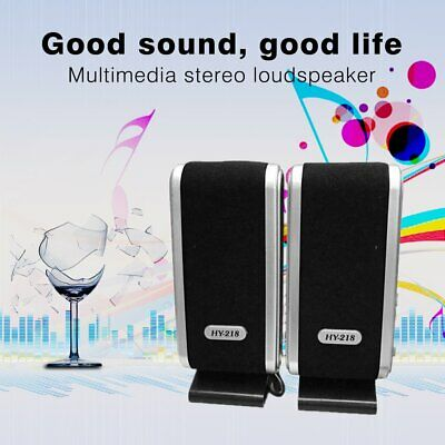 2X Black Multimedia Stereo Usb Speakers System For Laptop Desktop Pc Computer Mt