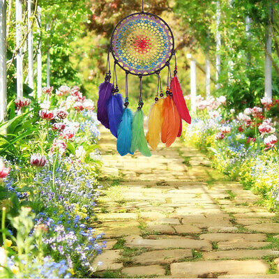 Rainbow Dream Catcher Handmade Wall Hanging Feather Kit Ornament Home Decor Gift