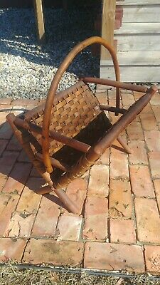 Antique OLD HICKORY RUSTIC MAGAZINE RACK Stickley era INDIANA ARTS AND CRAFTS