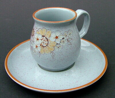 1980's Denby Stoneware Reflections Pattern 100ml Coffee Cups & Saucers - in VGC
