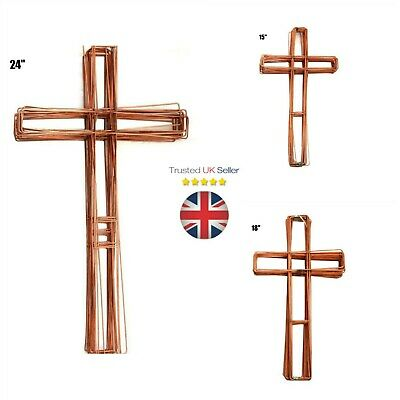"""Wreath Cross Flat Copper Wire Frame Christmas Funeral Xmas 15"""" 18"""" 24"""" UK"""