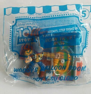 2019 Toy Story 4 McDonalds Happy Meal # 5 Woody Balloon boom w/ Tickets