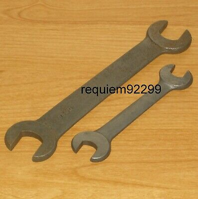 Lot=2 Vintage Machinist Lathe Double Open End Spanner Wrench Tool [6490]