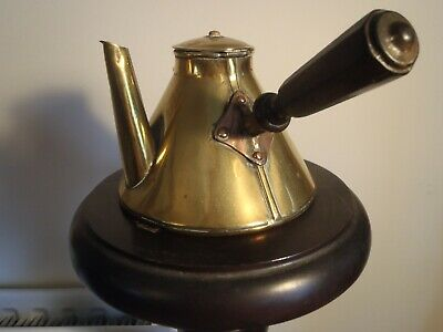 Vintage Copper French Coffee Pot Brass Spout And Wooden Handle