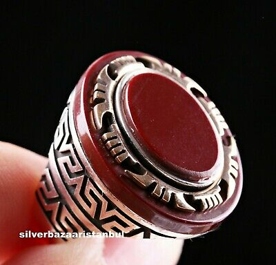 Turkish Carnelian Agate Aqeeq Stone 925 Sterling Silver Mens Ring All Size USA