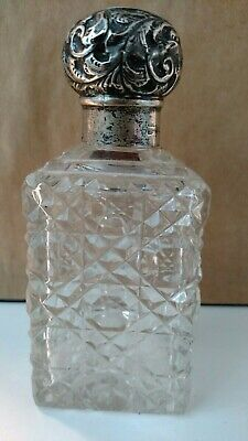 Nice Antique English sterling silver repousse crystal perfume cologne bottle