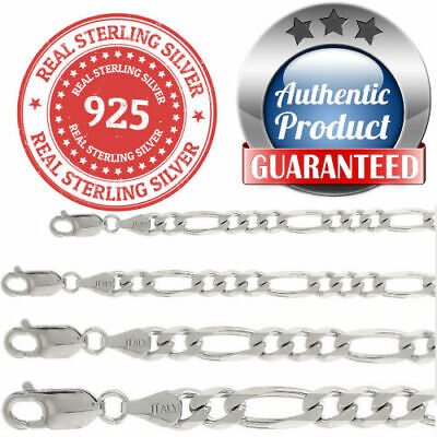 925 sterling silver Italian solid chain Figaro Mens Womens  Necklace USA seller