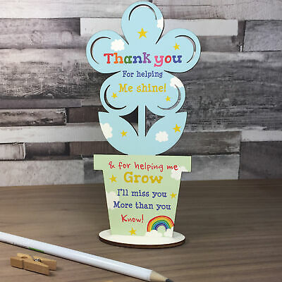 Thank You Wooden Flower Gift For Teacher And Assistant Leaving School Pre School
