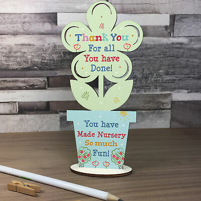 Thankyou Gift For Nursery Teacher And Assistant Wood Flower Leaving Nursery Gift