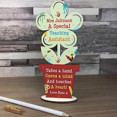 Special Gift For Teacher Assistant Wood Flower Plaque Thank You Gifts Leaving