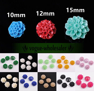 10/20pcs 10/12mm/15mm Gorgeous Carved Rose Flower Coral Resin Spacer Beads DIY