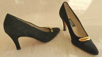 b573e800d82b6 BALLY VINTAGE DEEP Black Suede Ladylike Shoes Pumps Gold Half Moon Buckle  7.5