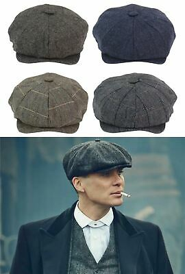 Cappello 8 Spicchi Uomo Newsboy Tweed a Scacchi Vintage Peaky Blinders anni 20