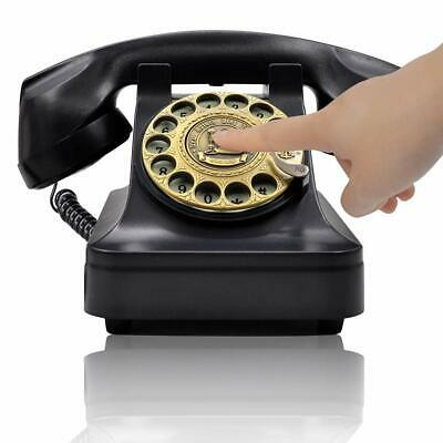 Retro Black Phone Rotary Dial Vintage Telephone Old Fashioned Desk Office Gifts