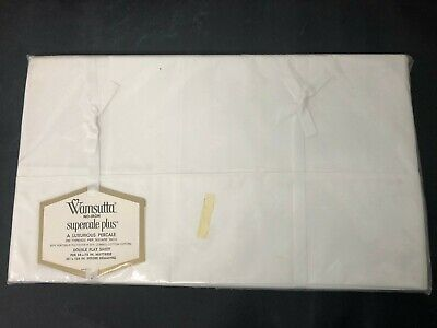 Vtg Wamsutta Supercale DOUBLE FLAT Sheet White Percale NEW Sealed NOS