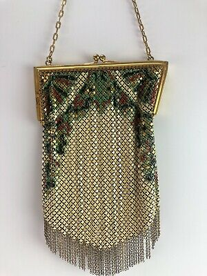 Antique Enamel Mesh Bag, Flapper Purse, Art Deco Mandalian MFG. CO