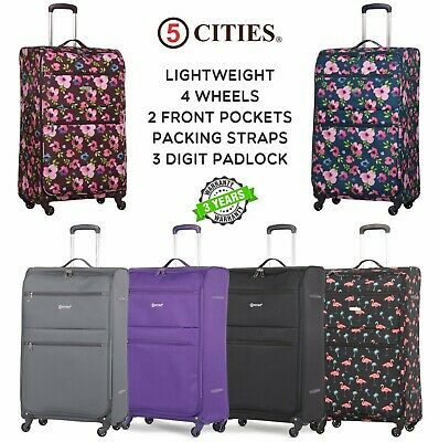 """5 Cities Lightweight Suitcase Hand Cabin & Hold Check In Luggage Sets 22/26/29"""""""