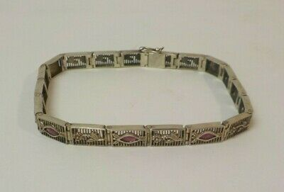 "Vintage Sterling Silver Art Deco Filigree & Ruby 7.75"" Bracelet"