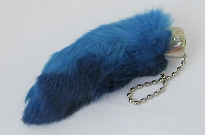 BLUE Colored Real RABBIT FOOT Lucky Key Chain Keychain Good Luck Free Shipping