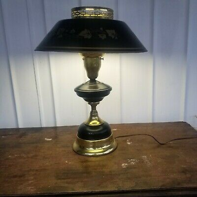 Vintage Black Gold Metal ToleWare Art Deco Parlor Desk Lamp Milk Glass