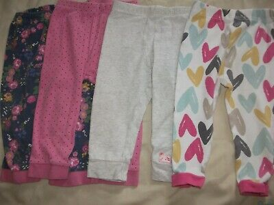 Baby Girls 4 Pair Pyjama Bottoms - Age 9-12 Months
