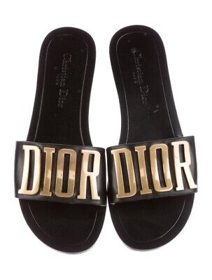 14a21423fa027f NIB Dior Black Gold Logo Diorevolution Leather Mule Slide Flat Sandals 37