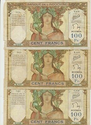 (S) 612231-144   New Caledonia set with 3 banknotes 1000 Francs ND(1937), P.42