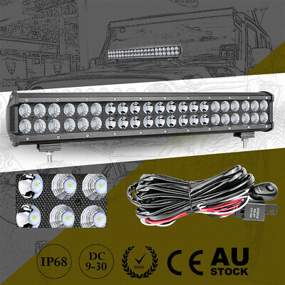 "32"" Cree Quad Row LED Work Light Bar Spot Flood Driving Truck 4WD+Wiring Harness"