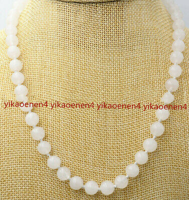 8/10mm Real Natural White Jade Round Beads Necklace18 Inch AAA