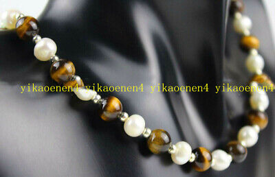 Natural 7-8mm White Pearl &8mm Yellow Tigers Eye Round Gemstone Necklace 18''AAA