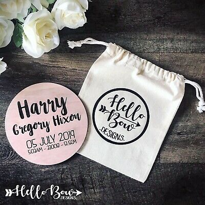 Wooden Personalised Birth Announcement & Milestone Cards 15 piece set With Bag