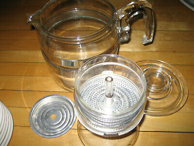 Vtg Pyrex 6-9 Cup Stove Top Percolator Coffee Pot Complete #7756 Stainless Band