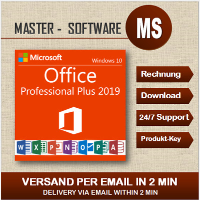 ➞Office Professional Plus 2019 ➞Produkt Key per Email ➞Pro Plus 2019 ➞32&64 Bits