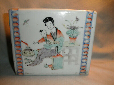 Antique Chinese Famille Rose Porcelain Opium Pillow