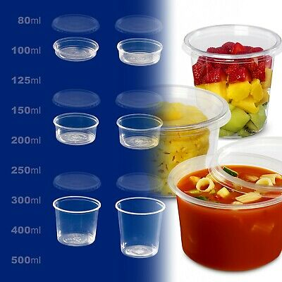 Clear Round FOOD CONTAINERS Plastic Storage BOX with Lids Deli (microwave OK)