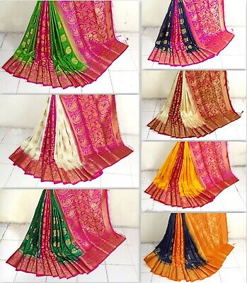 Designer Bollywood Saree Indian Pakistani Naylon Silk Weaving Jacquard Sari  BF