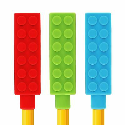 Lego Chewable Pencil Toppers Sensory Chew Toy Autism Oral Biting Teething 3 Pcs