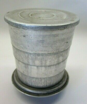 Vintage Tin Collapsible Cup with Lid