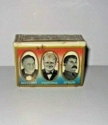 Vintage Lithographed Celluloid Match Box Holder - Fdr Churchill Stalin