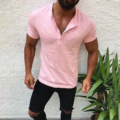 Mens T Shirt Cotton Linen Tops Casual Muscle Tee Slim Sports V Neck Short Sleeve