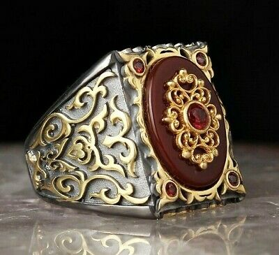 Turkish Jewelry 925 Sterling Silver Red Agate Aqeeq Mens WONDERFUL Ring ALL SİZE