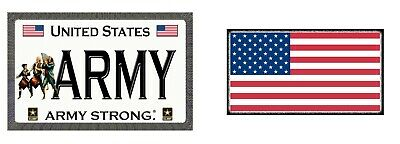 2 Pack - Army and American Flag - Magnetic Car Sign