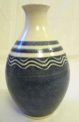 "Blue and White Striped Glazed Vase 6"" tall x 4.5"" w Beautiful Delft Blue Color"
