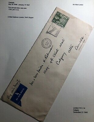 1945 London England United Nation Cancel Cover To Calgary Canada Wax Seal