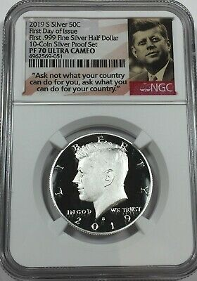 2019-S NGC PF70 KENNEDY .999 SILVER HALF DOLLAR PROOF tcs FIRST DAY ISSUE #W1