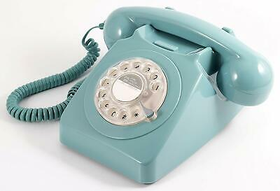Retro Light Blue Phone Rotary Dial Vintage Telephone Old Fashioned Desk Gifts